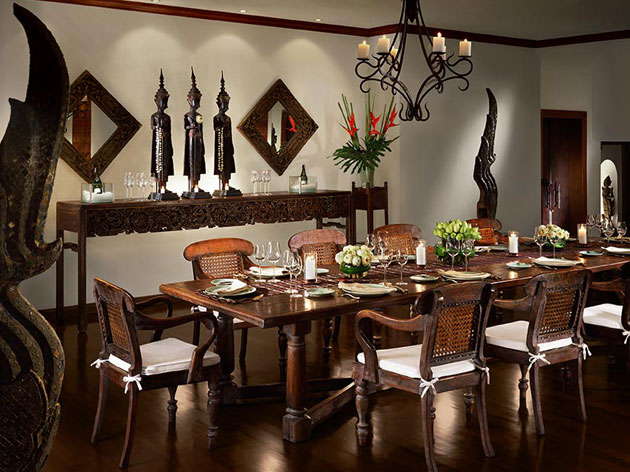 Chiang Mai Condo. Indoor dining room graced with Thai charm